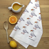 Seagull tea towel with design from the original lino print artwork from Lucky Lobster Art in England.