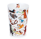 Bone china travel mug from Dunoon - Dogs Galore without lid and sleeve.