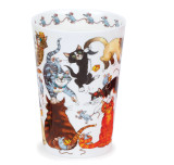 Bone china travel mug from Dunoon - Pussy Galore without lid and sleeve.