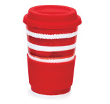 Bone china travel mug from Dunoon - Hoopla! Red without lid and sleeve.