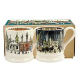Set of 2 handmade pottery London half pint mugs from Emma Bridgewater.