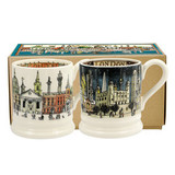 Set of 2 handmade pottery London half pint mugs from Emma Bridgewater.
