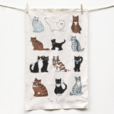 Poppy Treffry Cats 100% cotton tea towel.