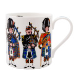 Alison Gardiner Bone China Scottish Pipers mug boxed.