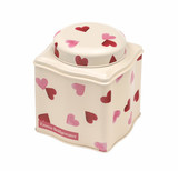 Pink Hearts domed lid wavy tea caddy