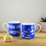 Port & Lemon Fish and Ships Bone China Mug