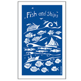 Port & Lemon Fish and Ships 100% cotton tea towel