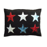 Jan Constantine 6 star glam rock hand-embroidered cushion.