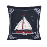 Jan Constantine boat and rope hand-embroidered cushion.
