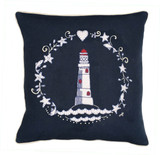 Jan Constantine lighthouse wreath hand-embroidered cushion.