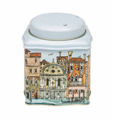 Architecture domed lid wavy tea caddy