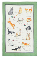 Madeline Floyd Cats linen tea towel by Ulster Weavers.