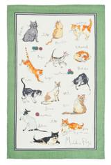 Madeline Floyd Cats linen tea towel by Ulster Weavers.