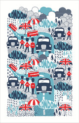 Rainy Days 100% Cotton tea towel by Ulster Weavers.