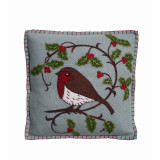 Holly Robin cushion in duck egg blue. Hand embroided from Jan Constantine, England.