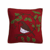 Holly Robin cushion in red. Hand embroided from Jan Constantine, England.
