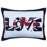 Jan Constantine UnionJack Love hand-embroidered felt cushion in cream.