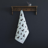 Organic cotton tea towel covered in Chocolate Labradors from Sweet William Designs.