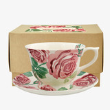 Pink Roses Large Teacup & Saucer Boxed