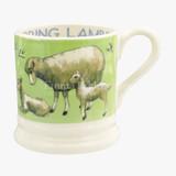 Bright New Morning Spring Lambs 1/2 Pint Mug. Handmade in England.