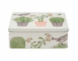 Cactus and Bird Deep Rectangular Tin