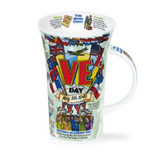 Dunoon fine bone china VE Day commemorative mug in the Glencoe shape. Handmade in England.