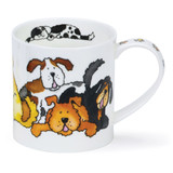 Dunoon Orkney Jumbled Dogs bone china mug.