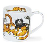 Dunoon Orkney Jumbled Cats bone china mug.