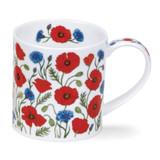 Dunoon Orkney Provence Poppy and Cornflower bone china mug.