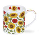 Dunoon Orkney Provence Sunflower bone china mug.