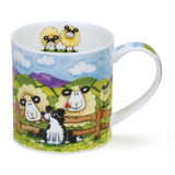 Dunoon Orkney Silly Sheep Fence bone china mug.