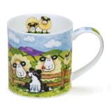 Dunoon Orkney Silly Sheep Fence bone china mug.