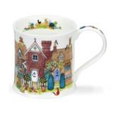 Fine bone chine Wessex Cottage Row Mugs - Brick