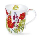 Dunoon Fine Bone China Braemar Cottage Flowers Mug - Red.