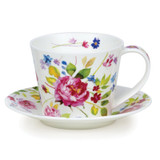 Fine bone china Dunoon Islay Wild Garden Rose cup and & saucer.