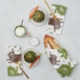 Thornback & Peel Rabbit & Cabbage 100% Cotton Napkins - Set of 4