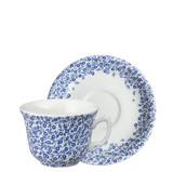 Burleigh Dark Blue Felicity Teacup and Saucer. Handmade in England.