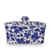 Burleigh Blue Arden Pottery Butter Dish. Handmade in England.