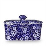 Burleigh Blue Calico Pottery Butter Dish. Handmade in England.