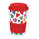 Bone china travel mug from Dunoon - Warm Hearts.