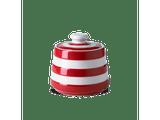 Cornishware Striped covered sugar Pot - red