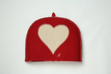 Red/Pink Heart Felt embroidered tea cosy.