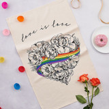 100% cotton Love is Love Tea Towel from Victoria Eggs.