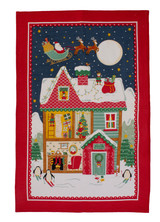 Santa's Workshop 100% cotton tea towel from Ulster Weavers.