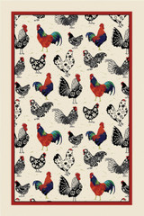 Rooster 100% Cotton tea towel by Ulster Weavers.