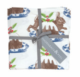 Thornback & Peel Set of 4 Rabbit & Pudding 100% cotton napkins.