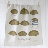 Poppy Treffry Pasty Time 100% cotton tea towel.