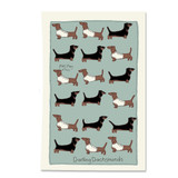 Poppy Treffry Dachshunds 100% cotton tea towel.