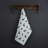 Organic cotton tea towel covered in Yorkshire Terriers from Sweet William Designs.