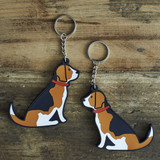 PVC Double-Sided Mischievous Mutts Key Ring - Beagle